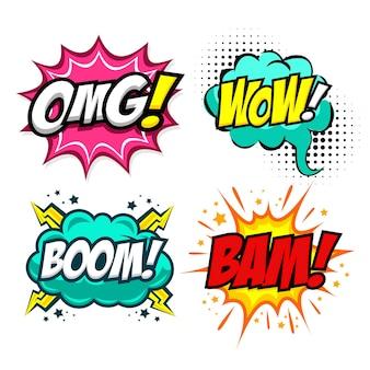 Ensemble de bulle de dialogue comique colorée avec du texte