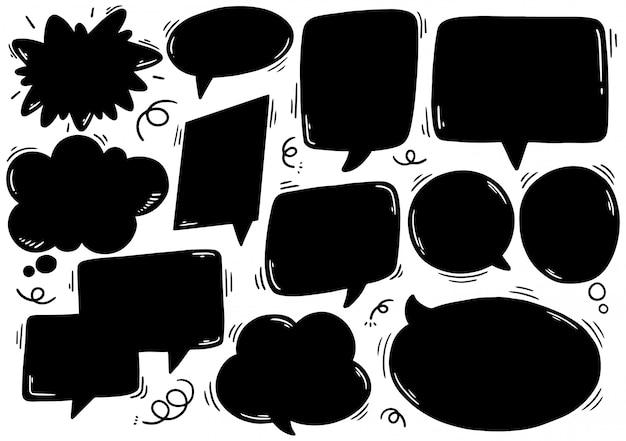 Ensemble de bulle de dialogue mignon dans un style doodle