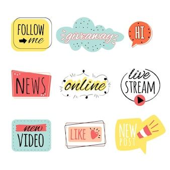 Ensemble de bulles d'argot des médias sociaux