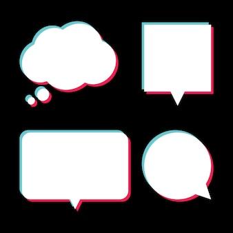 Ensemble de bulles blanches avec effet glitch. illustration vectorielle moderne. bannière, étiquette de prix, badge, affiche de style glitch sur fond sombre.