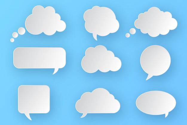 Ensemble de bulles blanches vides vides. conception différente de la collection de nuages de bulles comiques.
