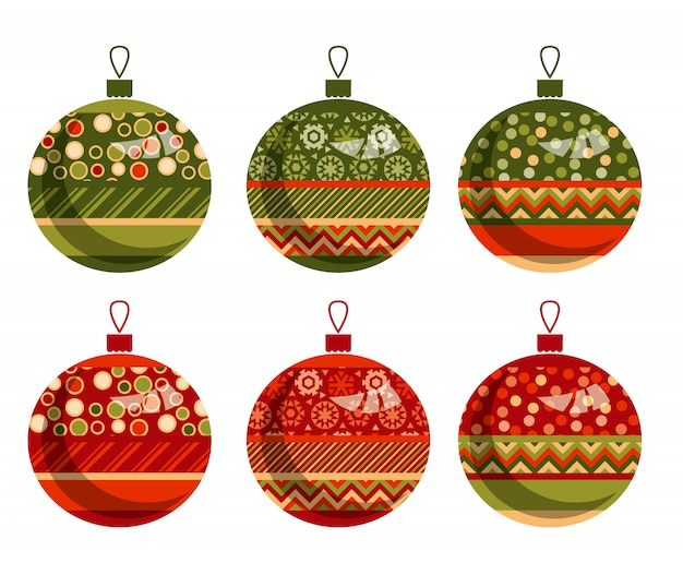 Ensemble de bulles ou boules de noël patchwork ornement traditionnel