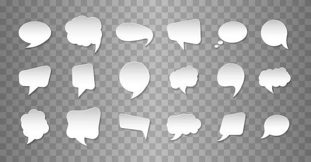 Ensemble de bulles de communication dans le style de papier