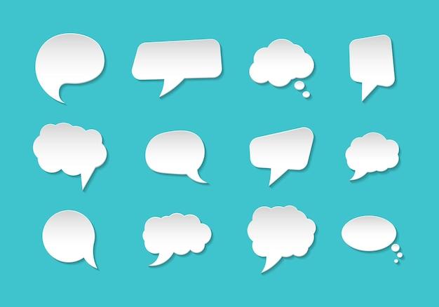 Ensemble de bulles de communication en style papier