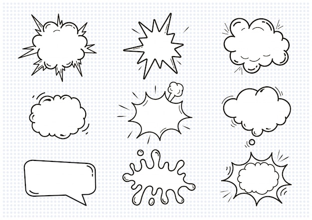 Ensemble de bulles de discours sonores comiques vides isolé sur illustration blanche. nuages avec place pour le texte.