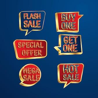 Ensemble de bulles de discours de vente conception vente flash offre spéciale bannière d'offre spéciale de fin de saison