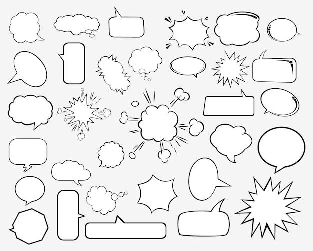 Ensemble de bulles et d'éléments comiques vides rétro.
