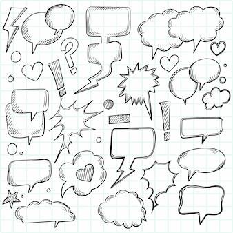 Un ensemble de bulles et d'éléments comiques