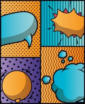 Ensemble de bulles et expressions fond pop art