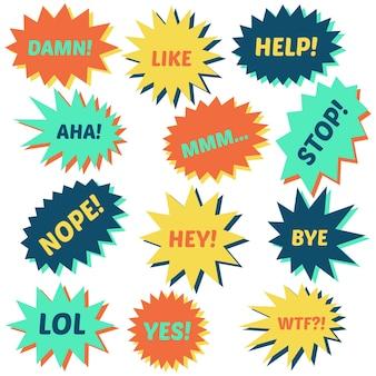 Ensemble de bulles sur fond blanc avec différentes inscriptions au milieu. bulles avec des phrases courtes. illustration vectorielle.