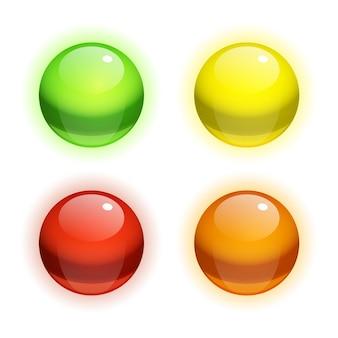 Ensemble de bulles multicolores réalistes avec des reflets isolés
