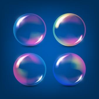 Ensemble de bulles de savon coloré transparent réaliste avec réflexion arc-en-ciel