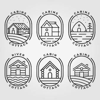 Ensemble bundle cabine cottage icône logo conception illustration vectorielle