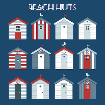 Ensemble de cabines de plage.