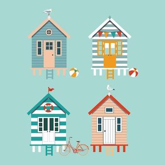 Ensemble de cabines de plage