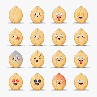 Ensemble de cacahuètes mignonnes avec des émoticônes