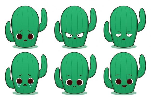 Ensemble de cactus dessiné main mignon