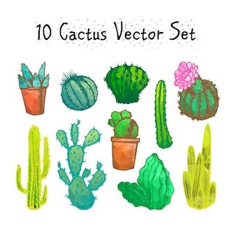 Ensemble de cactus isolés dessinés à la main
