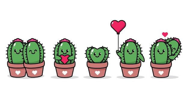 Ensemble de cactus mignon dans le thème de la saint-valentin