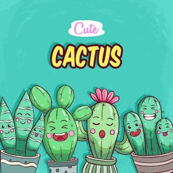 Ensemble de cactus mignon avec style coloré dessinés à la main sur vert