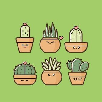 Ensemble de cactus mignon