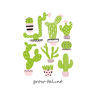 Ensemble de cactus mignons. cultiver le talent