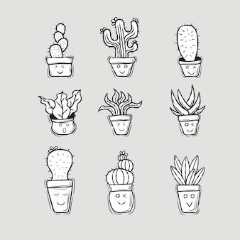 Ensemble de cactus mignons avec un style dessiné à la main