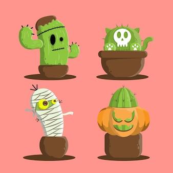 Ensemble de cactus avec style monstre d'halloween