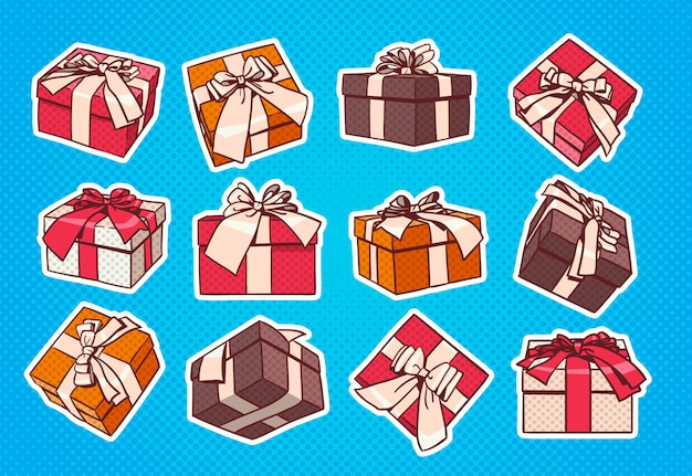 Ensemble de cadeau coloré boîte pop art style rétro de cadeaux avec ruban et noeud sur fond bleu