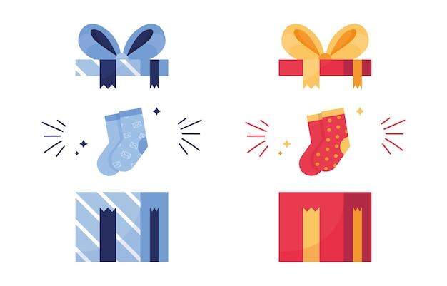 Ensemble de cadeaux avec des chaussettes à pois colorés pour le nouvel an ou noël. bleu et rouge