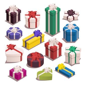 Ensemble de cadeaux isométriques. coffrets cadeaux de différentes formes