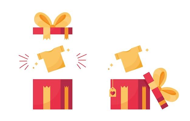Ensemble de cadeaux ouverts avec des t-shirts mignons pour des vacances au design plat