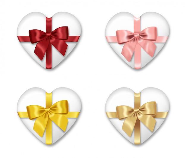 Ensemble de cadeaux réalistes, arc rouge, rose, or et jaune, joyeux anniversaire, saint valentin, décoration de fête, paquet d'éléments de fête