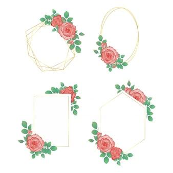 Ensemble de cadre aquarelle fleur de mariage