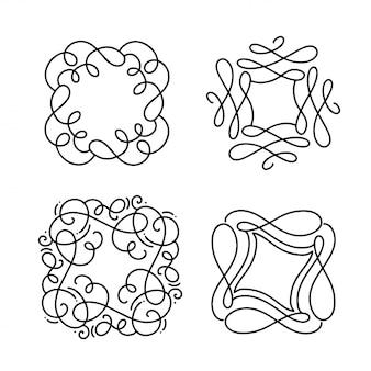 Ensemble de cadre art déco s'épanouir monoline. ornement vintage de style calligraphie dessiné à la main