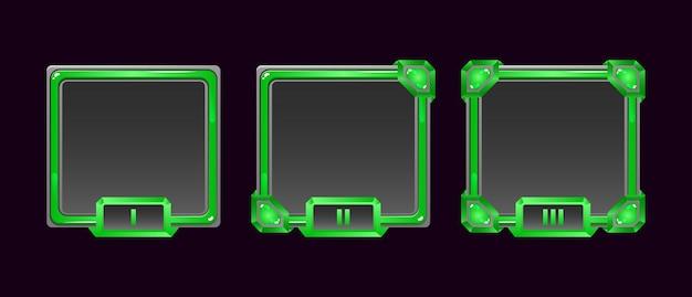 Ensemble de cadre d'avatar de bordure d'interface utilisateur de jeu de gelée de pierre avec une note pour les éléments d'actif gui