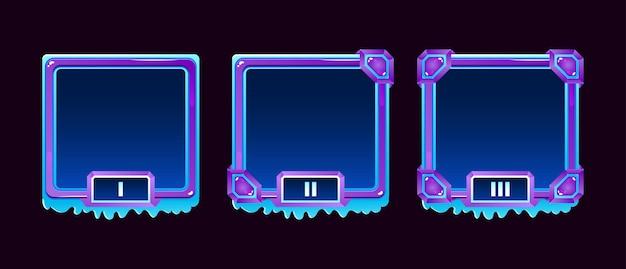Ensemble de cadre d'avatar de frontière d'interface utilisateur de jeu de gelée de glace d'hiver avec une note pour les éléments d'actif gui
