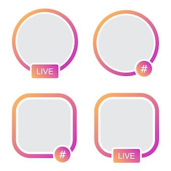 Ensemble de cadre d'avatar d'icônes. hashtag live stories en streaming vidéo