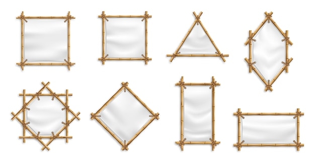 Ensemble de cadre de bannière en bambou. bambou avec toile. signes chinois avec des bannières textiles vierges.