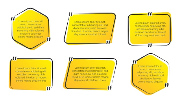 Ensemble de cadre de boîte de citation à la mode, bannière de citations et collection d'étiquettes