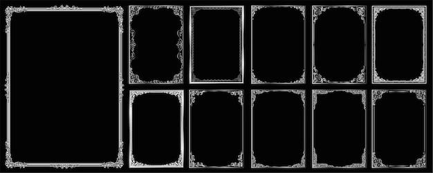 Ensemble de cadre et bordure sur fond noir