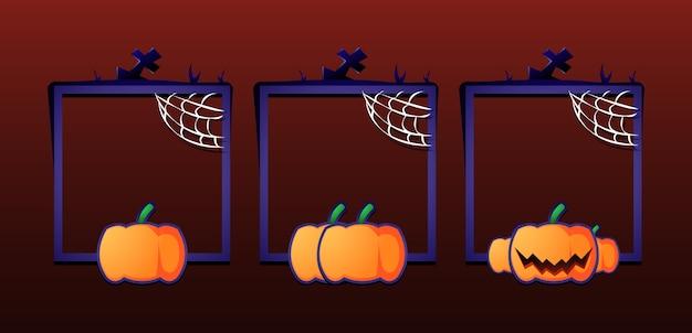 Ensemble de cadre de bordure halloween avec note pour les éléments d'actif de l'interface utilisateur de jeu
