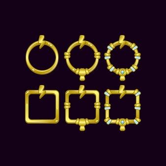 Ensemble de cadre de bordure d'interface utilisateur de jeu avec symbole de tonnerre pour les éléments d'actif gui