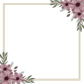 Ensemble de cadre carré de bouquets de fleurs aquarelle
