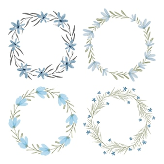Ensemble de cadre cercle aquarelle couronne florale bleue