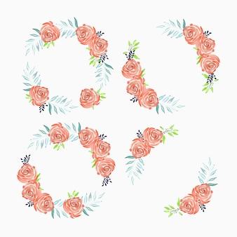 Ensemble de cadre de cercle de fleur rose peint à l'aquarelle