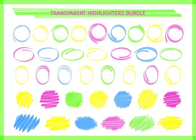 Ensemble de cadre de cercle de stylo surligné transparent
