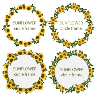 Ensemble de cadre de cercle de tournesol rustique
