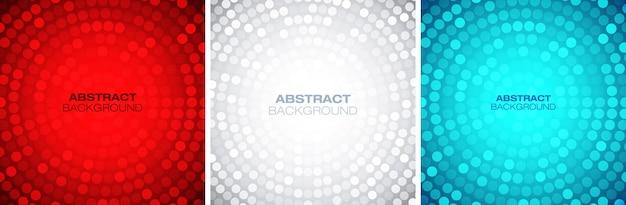 Ensemble de cadre circulaire coloré abstrait. arrière-plans de texture circulaire lueur brillante