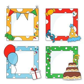 Ensemble de cadre de collage d'anniversaire dessiné